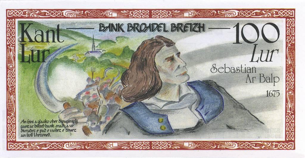 """Billet factice à l'effigie de Sébastien Le Balp, émis dans les années 90, à l'occasion de la Gouel ar brezhoneg, la """"Fête de la langue bretonne""""."""